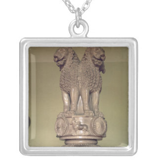 Lion capital from the Pillar of Emperor Ashoka Silver Plated Necklace