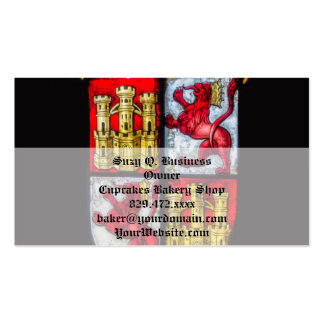 Lion Castle coat of arms red yellow Double-Sided Standard Business Cards (Pack Of 100)