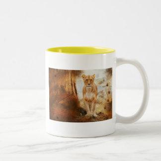 lion cat African Africa animal feline wild golden Two-Tone Coffee Mug