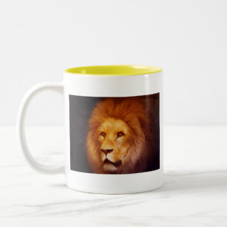 lion cat African Africa male mane roar golden Two-Tone Coffee Mug