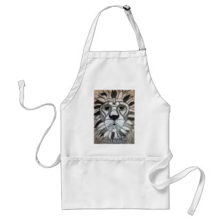 Lion Charcoal Black White Drawing Adult Apron