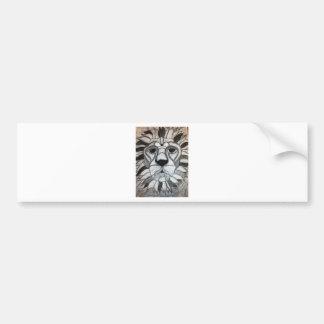 Lion Charcoal Black White Drawing Bumper Sticker