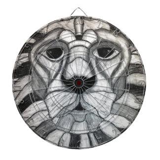 Lion Charcoal Black White Drawing Dartboard