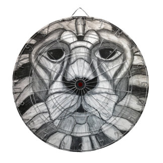 Lion Charcoal Black White Drawing Dartboard With Darts