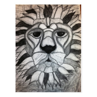 Lion Charcoal Black White Drawing Postcard