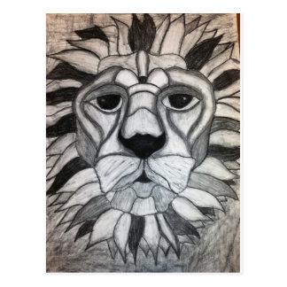 Lion Charcoal Black White Drawing Postcard