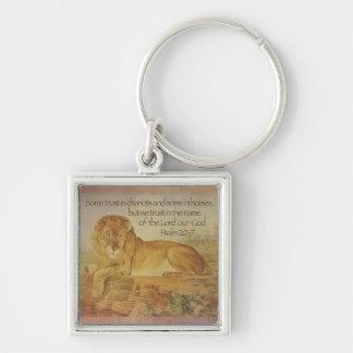 Lion Christian Bible Verse Psalm 20:7 Trust God Keychain