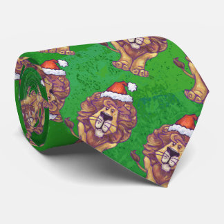 Lion Christmas On Green Neck Tie