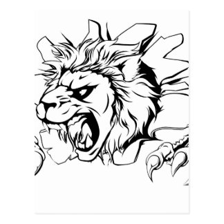 Lion clawing through wall postcard