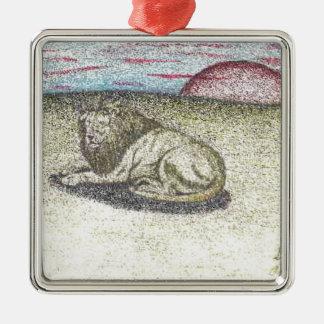 LION COLOR PENCIL DRAWING.PNG METAL ORNAMENT