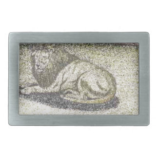 LION COLOR PENCIL DRAWING.PNG RECTANGULAR BELT BUCKLE