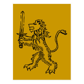 lion crest black postcard