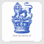 Lion & Crown bookplate sticker