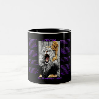Lion Cub baby biting the neck of his parent Two-Tone Coffee Mug