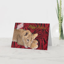Lion Cub Christmas Card card