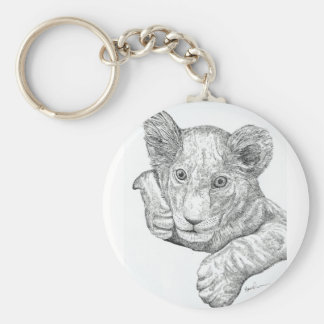 Lion Cub Pen and Ink Keychain