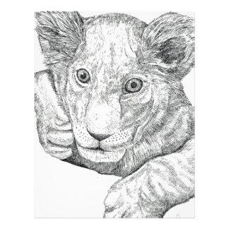 Lion Cub Pen and Ink Letterhead