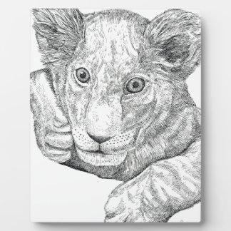 Lion Cub Pen and Ink Plaque