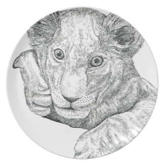 Lion Cub Pen and Ink Plate