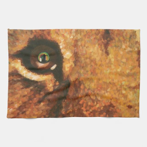 Lion Cub with Rainbow in Eye Kitchen Towels