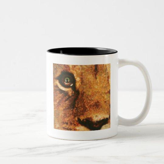 Lion Cub with Rainbow reflection in his eye Two-Tone Coffee Mug