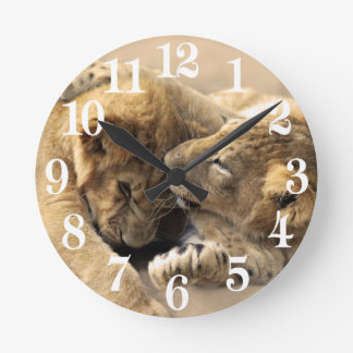 Lion cubs best friends round clock