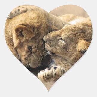 Lion cubs best friends heart sticker