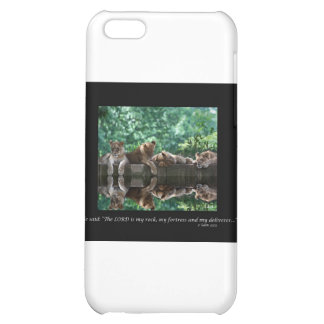 Lion cubs reflected in pool. iPhone 5C cover