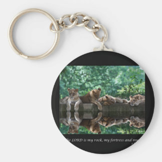 Lion cubs reflected in pool. keychain