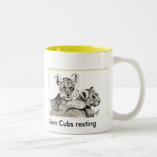 Lion Cubs resting Two-Tone Coffee Mug