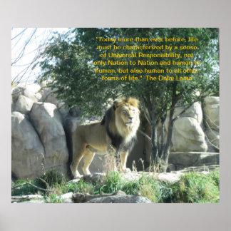 Lion Dalai Lama Quote Poster