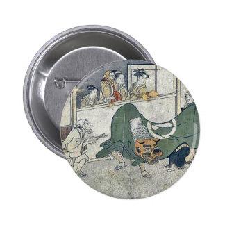 Lion dance by Kitagawa,Utamaro Pinback Button