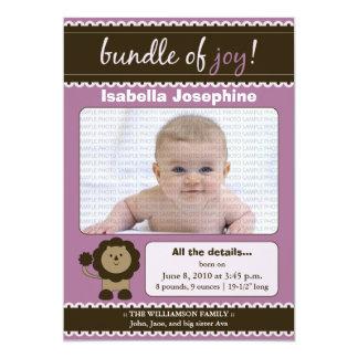 Lion Designer Baby Birth Announcement : lavender