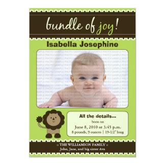 Lion Designer Baby Birth Announcement : lime green