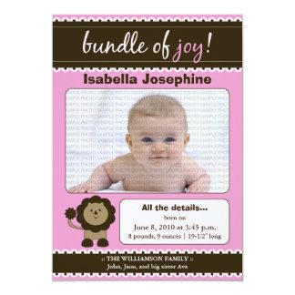 Lion Designer Baby Birth Announcement : pink