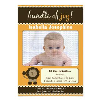 Lion Designer Baby Birth Announcement : tangerine
