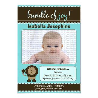 Lion Designer Baby Birth Announcement : teal blue