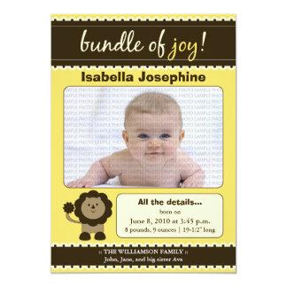 Lion Designer Baby Birth Announcement : yellow