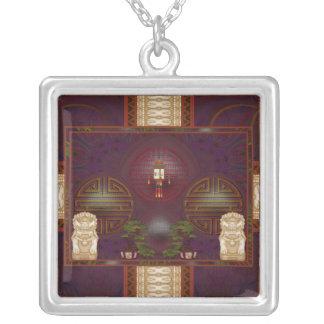 Lion Dog Shrine Pixel Art Square Pendant Necklace