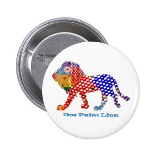 LION - dot painted Artistic work Pinback Buttons