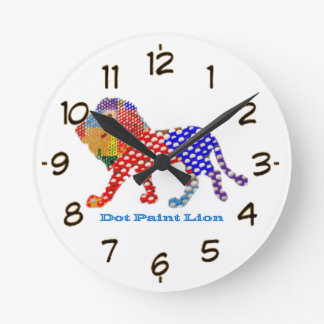 LION   -  dot painted Artistic work Round Clock