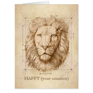 Lion Drawing Card