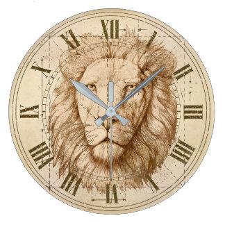 Lion Drawing Large Clock