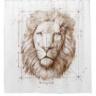 Lion Drawing Shower Curtain