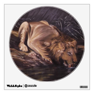 Lion Drinking Water Oil Painting Round Decaul Wall Decal