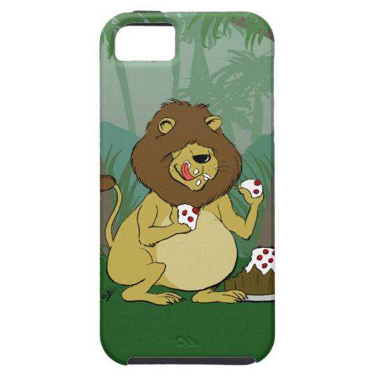 Lion Eating Cake - Funny Cartoon iPhone Case