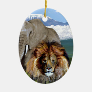 LION ELEPHANT Double-Sided OVAL CERAMIC CHRISTMAS ORNAMENT