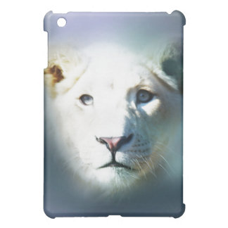 Lion emerging out of the blue cover for the iPad mini