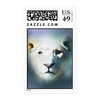 Lion emerging out of the blue postage