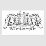 Lion Ends Personalized Bookplate Rectangular Stickers
